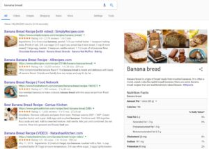 Google Knowledge Graph for Banana Bread